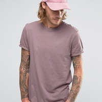 ASOS T-Shirt With Crew Neck And Roll Sleeve In Purple