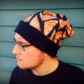 reversible cheese Pizza slouch beanie Hat in sizes baby/ toddler/ kids/ adult