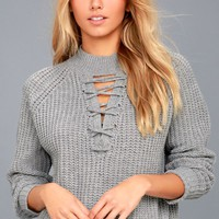Tanner Grey Lace-Up Cropped Knit Sweater