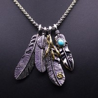 Hot Sale Punk Feather Cross Long Pendant Necklace for Women Metal Shoe Anchor Skull Statement Necklace Men Jewelry