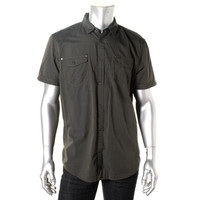 INC Mens Cotton Embroidered Button-Down Shirt