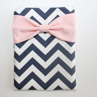 iPad Case / Tablet Sleeve - Navy Chevron Stripes with Light Pink Bow - Padded