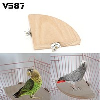 Fan Shape Wooden Parrot Bird Cage Perches Stand Platform Pet Parakeet Budgie Toys Hanging Resk Toy Gift Supplies 3 Size