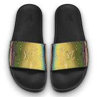 Inseva LV Louis Vuitton Shoes Slippers Laser Sandals Women Men Shoes Black