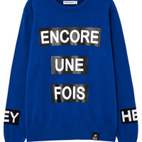 """""""Encore Une Fois"""" Letter Printed Knitted Sweater"""