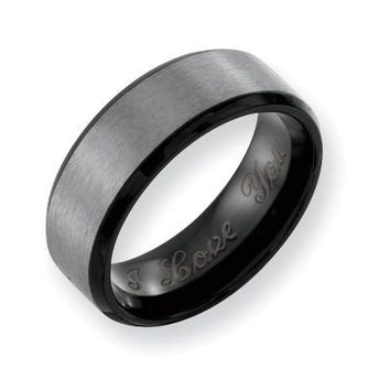 Men's 8.0mm Engraved Black Ion-Plated Titanium Brushed Wedding Band (27 Characters) - Personalized Rings - Shared - Zales