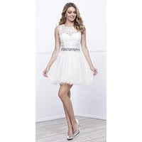 Cut Out Back Applique Bodice Sleeveless Homecoming Dress White