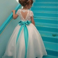 [60.99] Marvelous Organza & Lace Jewel Neckline Ball Gown Flower Girl Dresses With Beadings - dressilyme.com
