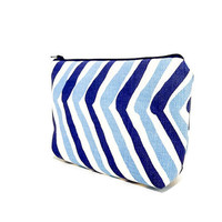 Blue Pouch, Cosmetic Bag, Pencil Pouch, Zipper Pouch, Fabric Pouch, Pouch, Gift for Her, Gift Under 20, Change Purse, Blue Zig Zag Print