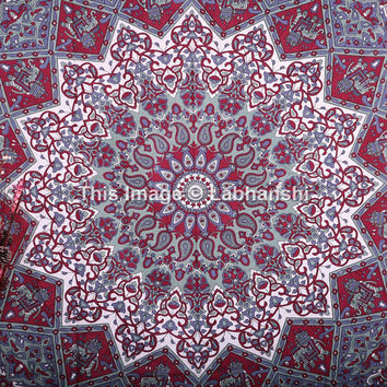 Twin Hippie Star Mandala Tapestries , Psychedelic Tapestry ,Sun and Moon Tapestry,Star Mandala Wall hanging, Throw Bedspread Bed Dorm Decor