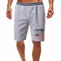 Fashion Casual Men American Flag And Letter Graphic Athletic Shorts