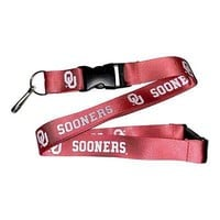 Oklahoma Sooners Lanyard with Keychain Clip Breakaway Red Lanyard with Keyring