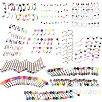 20x Eyebrow Nose Tongue Lip Navel Belly Button Rhinestone Rings, 20 Total Per Order! HUGE Lot!