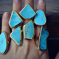 Lux Divine /// Turquoise Electroformed Gemstone Rings /// Gold