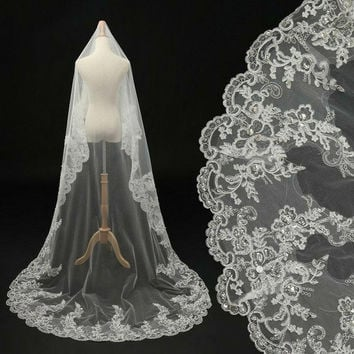 Worldwide! In Stock 2015 Luxury Long Sweep Bridal Veils White/ Ivory Lace Beads Pearl Bride Accessories For Wedding Dress