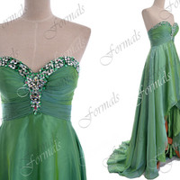 High Low Prom Dresses, 2014 Green Prom Gown, Strapless Front Short Long Back Green Prom Dresses, Wedding party Dresses, High Low Formal Gown