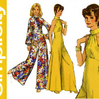 1970s Jumpsuit Pattern Bust 34 36 Simplicity 5570 Day or Evening High Waist Cutaway Sleeveless Palazzo Pants Womens Vintage Sewing Patterns