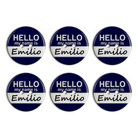 Emilio Hello My Name Is Plastic Resin Button Set of 6