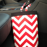 Car Trash Bag Chevron Red and White With Black Band