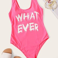 Letter Print Low Back One Piece Swimsuit