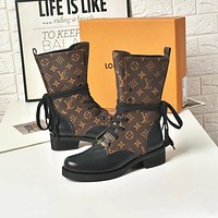 lv louis vuitton trending womens black leather side zip lace up ankle boots shoes high boots 248
