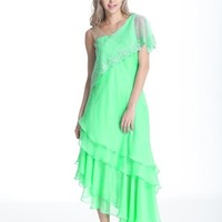Beautifly Fruit Green Chiffon Evening Ball Gown Party Dancing Dress
