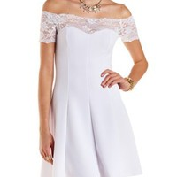 White Off-the-Shoulder Lace Yoke Skater Dress by Charlotte Russe