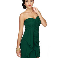 Sultry Green Dress - Strapless Dress
