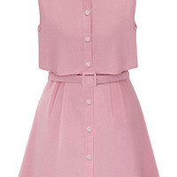 Sleeveless High Neck Belted Button Mini Skater Dress