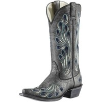 Ladies : Closeout Ariat Ladies' Andalusia Mirabelle Gunmetal Gray with Ornate Feather Embroidery