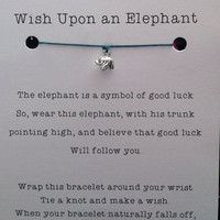 Lucky Elephant Wish Bracelet Sterling Silver by JensLuckyElephant
