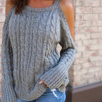 Long Sleeve Pullover Sweater Sexy Strapless Round-neck Tops Needles [186297450522]