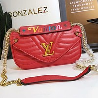 Hipgirls Louis Vuitton LV New Women's Letter Gold Buckle Leather Flap Shoulder Bag Crossbody Bag