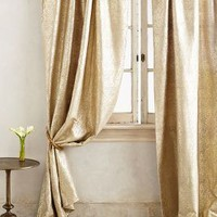 Gilded Waves Curtain by Anthropologie in Gold Size: