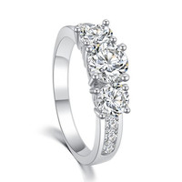 Trio Three Stone Solitaire Cubic Zirconia Diamond Ring - Rose Gold and Silver
