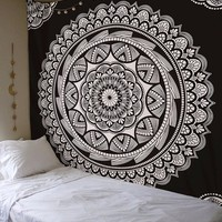Black Style Wall Hanging China Mandala Tapestry Bohemian Bedspread Cover Yoga Mat Beach Towel  Room Wall Art Decor Tablecloth