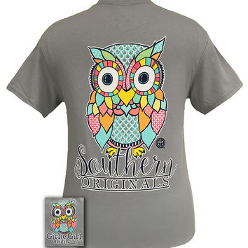 Girlie Girl Southern Originals Classy Preppy Owl Gravel Bright T Shirt