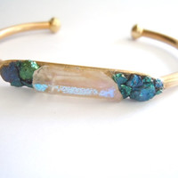 Raw Crystal Point Bracelet - Mystic Quartz and Peacock Ore - Brass Cuff - Stacking Bracelet