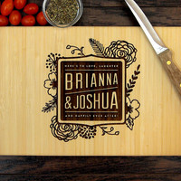 Personalized Cutting Board, Wedding Gift, Custom Engraved, Tree, Flowers, First Names, Hostess Gift, Bridal Shower, Housewarming Gift