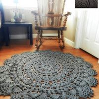 Giant Crochet Doily Rug, floor, slate gray- charcoal grey- Lace- large area rug, Cottage Chic- Oversized- shabby chic home decor- round rug