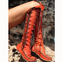 Fashion Lace Up Type Knot Knee-High Flat Boots
