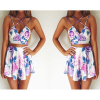 PRINTING SLEEVELESS TWO-PIECE