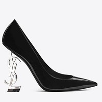 YSL New fashion letter heel high heels shoes women
