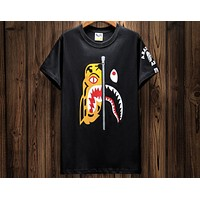 Bape personality tide brand tiger head stitching shark round neck short-sleeved T-shirt F-A-KSFZ black