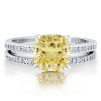 Sterling Silver 925 Cushion Cut Canary Cubic Zirconia CZ 2pc Ring Set #r542