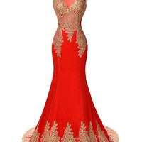 Red Mermaid Luxury Prom Dress Gold Applique Floor Length Party Formal Gown