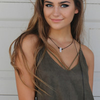Baha Babe Suede Rope Layered Choker Necklace