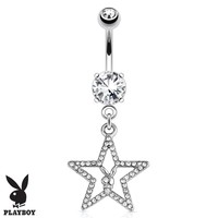 Playboy Belly Button Ring Dangle Barbell Paved Gems Star Bunny 14G Steel 316L Body Jewelry