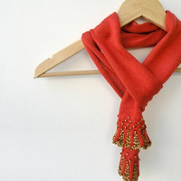 Hand Knit Ascot - Burnt Orange Scarf with Brown Wooden Beaded