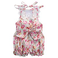 born Baby Girl Floral Lace Splice Romper Summer Sleeveless Princess Toddler Kids Jumpsuit Outfit Sun suit Clothes